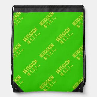 Countdown to Nerdgasm - Green Background Drawstring Bag