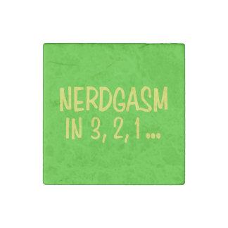 Countdown to Nerdgasm - Green Background Stone Magnet