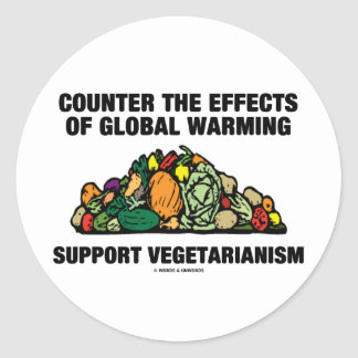 Counter Effects Global Warming Support Vegetarian Classic Round Sticker
