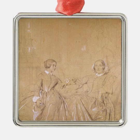Countess Charles d'Agoult and her daughter Metal Ornament