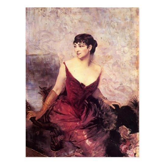 Countess de Rasty Seated by Giovanni Boldini Postcard
