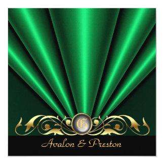 Countess Green Silk Gather Gold Scroll Invitation