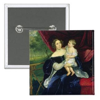 Countess Olga Ivanovna Orlov with her daughter Pinback Button