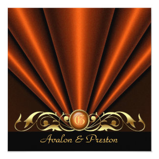 Countess Orange Silk Gather Gold Scroll Invitation
