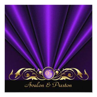 Countess Purple Silk Gather Gold Scroll Invitation