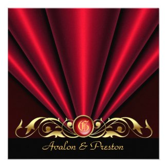 Countess Red Silk Gather Gold Scroll Invitation