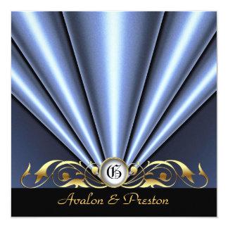 Countess Silver Silk Gather Gold Scroll Invitation
