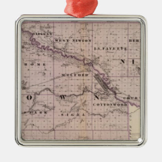 Counties of Brown and Nicollet, Minnesota Square Metal Christmas Ornament