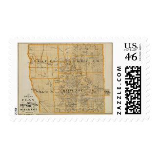 Counties of Clay Wilkin Becker Minnesota Stamp