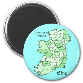 Counties of Ireland Map 2 Inch Round Magnet