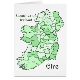 Counties of Ireland Map Greeting Cards