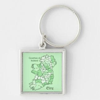 Counties of Ireland Map Keychain