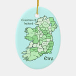 Counties of Ireland Map Double-Sided Oval Ceramic Christmas Ornament