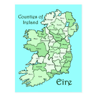 Counties of Ireland Map Postcard