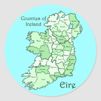 Counties of Ireland Map Stickers