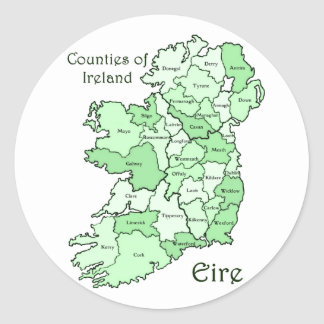 Counties of Ireland Map Round Sticker