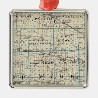 Counties of Kane, Du Page, and nearly all of Cook Square Metal Christmas Ornament