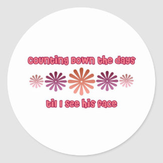 Counting Down The Days Til I See His Face Classic Round Sticker