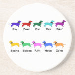 "Counting German Dachshunds Coaster<br><div class=""desc"">Ten colorful dachshunds count from 1 to ten in German</div>"
