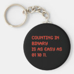 Counting in Binary Basic Round Button Keychain