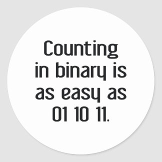 Counting In Binary Classic Round Sticker