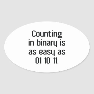 Counting In Binary Oval Sticker