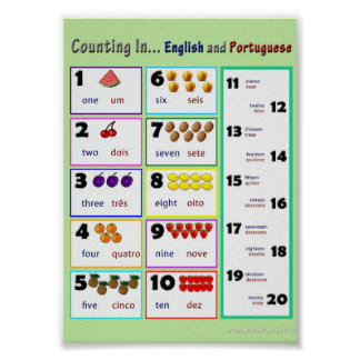 Counting in.... English and Portuguese Poster