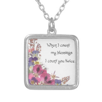 Counting my Blessings Square Pendant Necklace