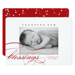 Counting Our Blessings Baby Christmas Photo Card at Zazzle