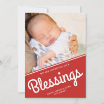 Counting Our Blessings | Christmas Baby Photo Holiday Card