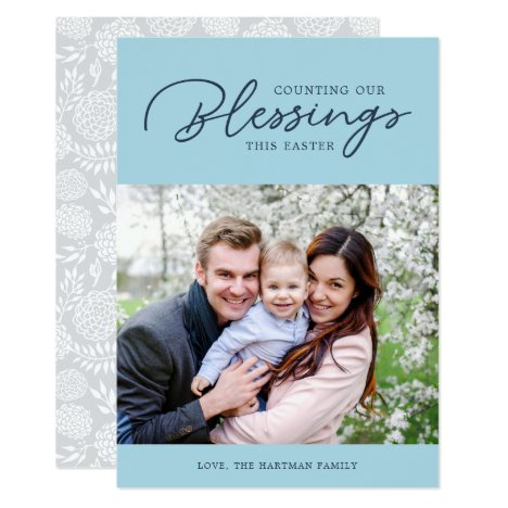 Counting our Blessings   Easter Photo Card   Blue