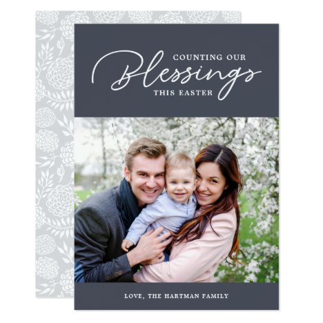 Counting our Blessings   Easter Photo Card   Gray