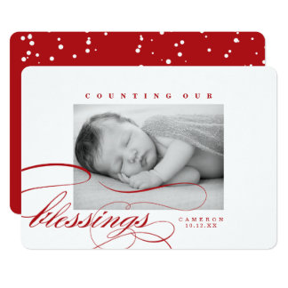 Counting Our Blessings Holiday Birth Announcement