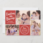 "Counting our Blessings | Red | Photo Holiday Card<br><div class=""desc"">Showcase your favorite photos with these modern styled holiday photo cards!  The background color can be customized to any color you'd like.</div>"
