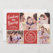 Counting our Blessings | Red | Photo Holiday Card