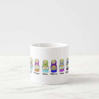 Counting Russian Nesting Dolls  (matroshka) 6 Oz Ceramic Espresso Cup