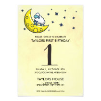 Counting Sheep Moon Cute 1st Birthday Party Invitation