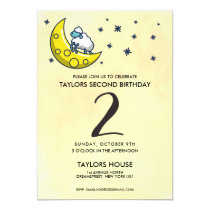 Counting Sheep Moon Cute 2nd Birthday Party Invitation