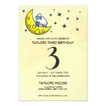 Counting Sheep Moon Cute 3rd Birthday Party Invitation