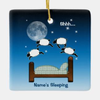 Counting Sheep Sleeping Ceramic Ornament