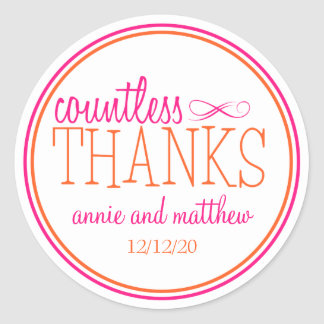 Countless Thanks Labels (Hot Pink / Orange)