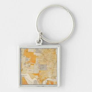 countries assessed valuation Silver-Colored square keychain