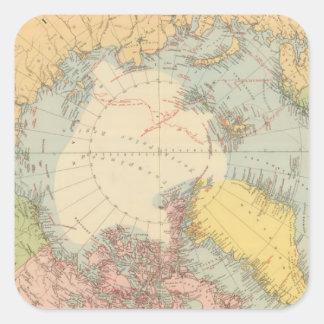 Countries round North Pole Square Sticker