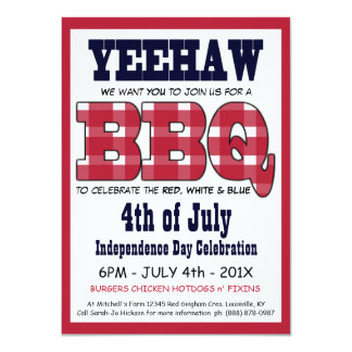 Country 4th of July Picnic BBQ 4.5x6.25 Paper Invitation Card