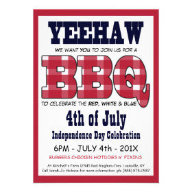 Country 4th of July Picnic BBQ Personalized Invitation