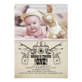 Country and Rustic 1 Birthday Photo Invitation