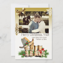 Country and Western Cowboy Boots Christmas Card