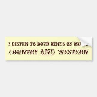Country and Western Music Bumper Sticker Car Bumper Sticker