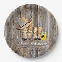 Country and Western Rustic Cowboy Boots Sunflowers Paper Plate