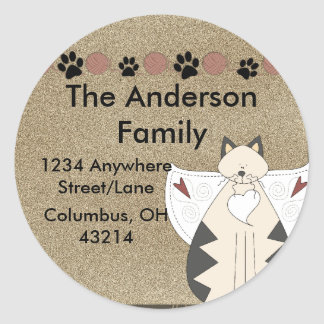Country Angel Cat Round Return Address Label
